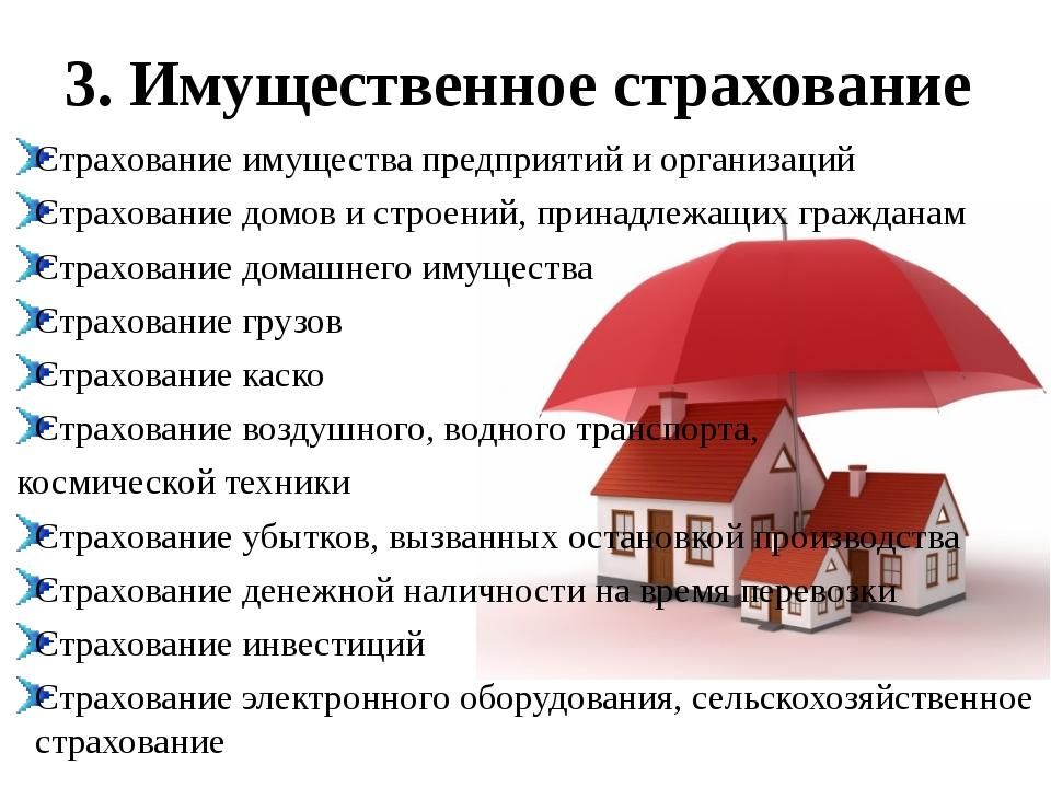 3. Имущественное страхование Страхование имущества предприятий и организаций...