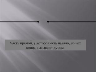 Часть прямой, у которой есть начало, но нет конца, называют лучом.