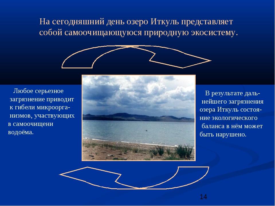 На сегодняшний день озеро Иткуль представляет собой самоочищающуюся природную...