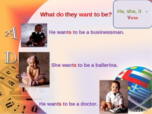 What do they want to be? He wants to be a businessman. She wants to be a ball