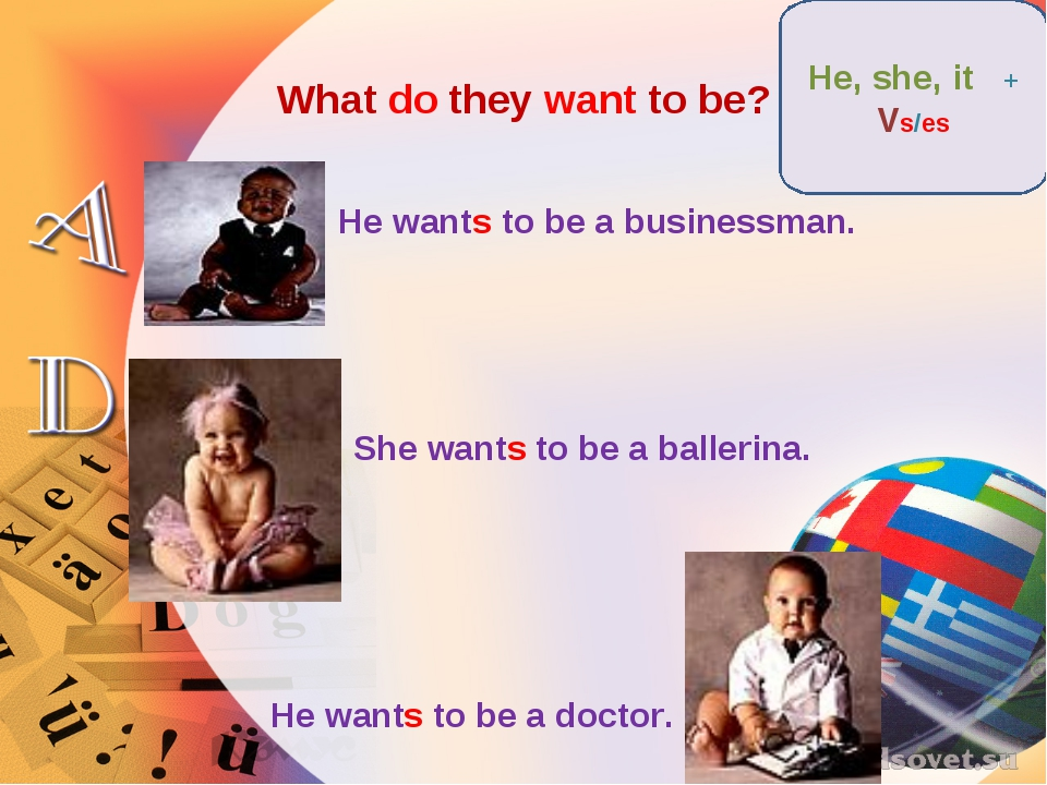 What do they want to be? He wants to be a businessman. She wants to be a ball...