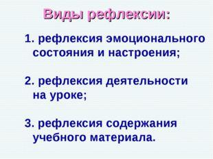 Виды рефлексии: рефлексия эмоционального состояния и настроения; рефлексия де
