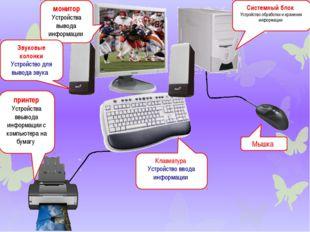 монитор Устройства вывода информации Системный блок Устройство обработки и хр
