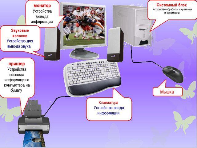 монитор Устройства вывода информации Системный блок Устройство обработки и хр...