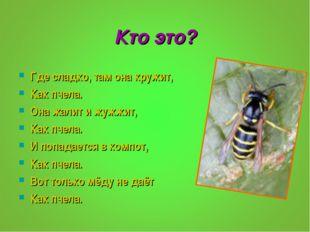 Кто это? Где сладко, там она кружит, Как пчела. Она жалит и жужжит, Как пчела