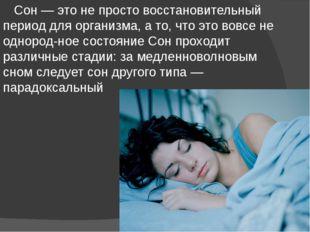 Сон — это не просто восстановительный период для организма, а то, что это во