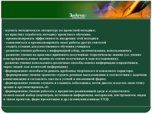 - изучить методическую литературу по проектной методике; - на практике отрабо