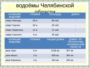 водоёмы Челябинской области НАЗВАНИЕ ВОДОЁМА ГЛУБИНА ПЛОЩАДЬ ДЛИНА озероУвиль