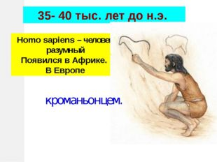 Homo sapiens – человек разумный Появился в Африке. В Европе 35- 40 тыс. лет д