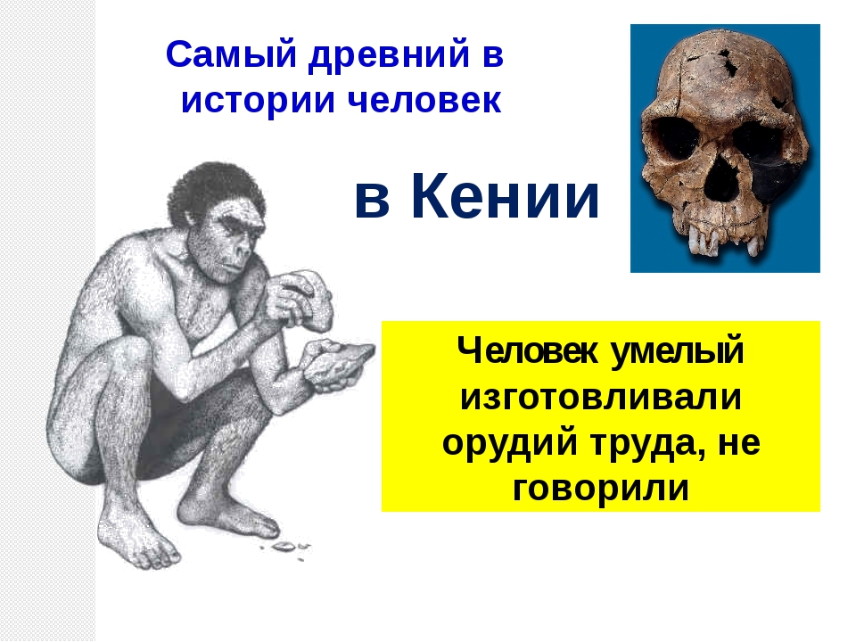 Человек умелый изготовливали орудий труда, не говорили Самый древний в истори...