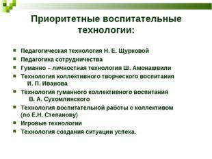 Приоритетные воспитательные технологии: Педагогическая технология Н. Е. Щурко