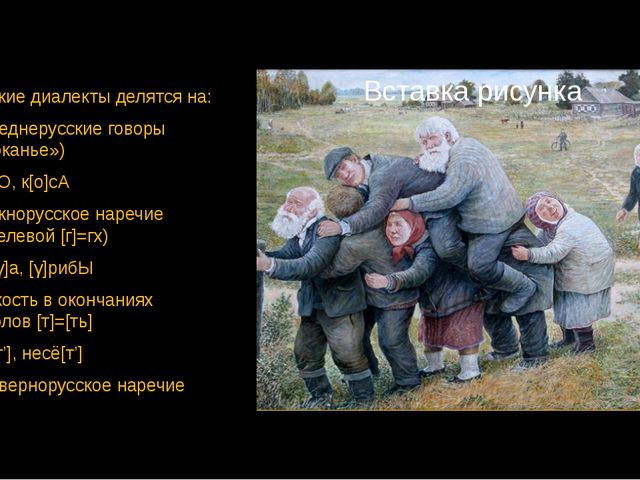 Русские диалекты делятся на: Среднерусские говоры («оканье») [о]кнО, к[о]сА Ю...