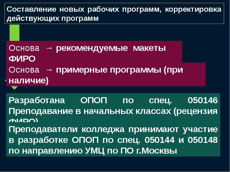 Составление новых рабочих программ, корректировка действующих программ Основа...