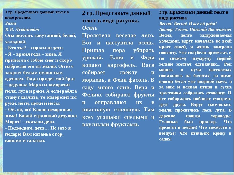 1 гр. Представьте данный текст в виде рисунка. Зима К.В. Лукашевич Она явилас...