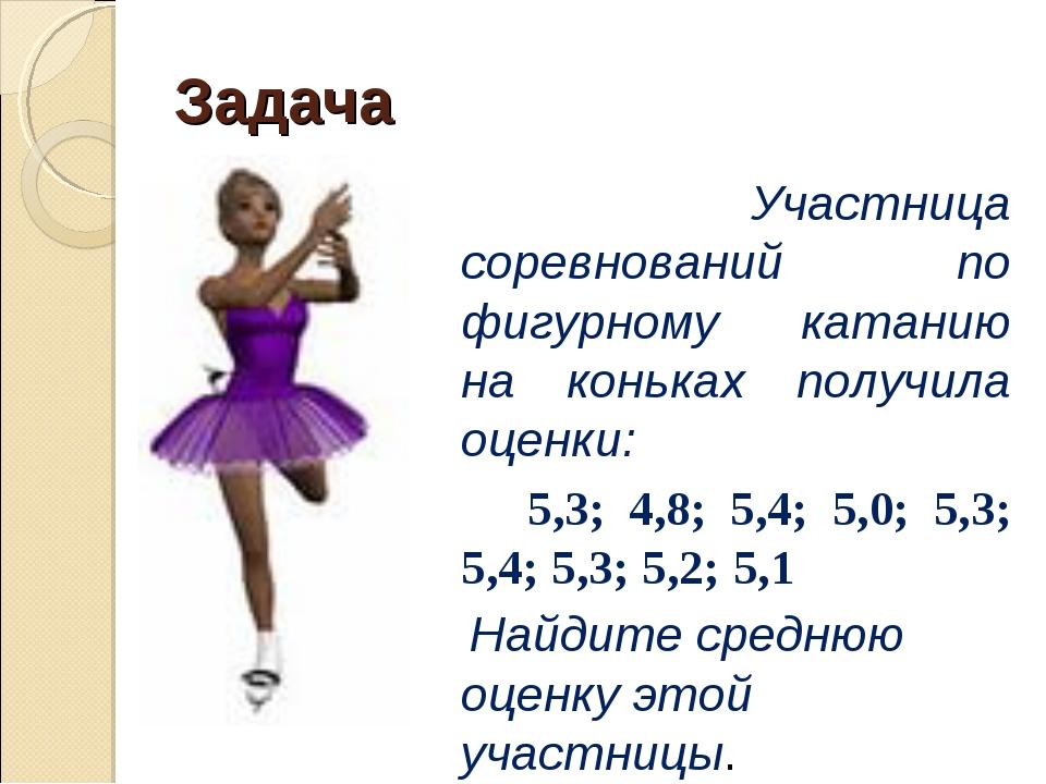 Задача Участница соревнований по фигурному катанию на коньках получила оценки...