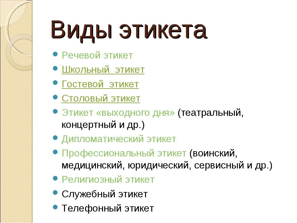 Виды этикета Речевой этикет Школьный этикет Гостевой этикет Столовый этикет Э...