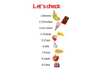 Let's check 1.Banana 2.Chocolate 3.Ice-cream 4.Cheese 5.Chips 6.Milk 7.Pizza