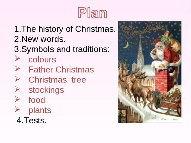 The history of Christmas. New words. Symbols and traditions: colours Father C...
