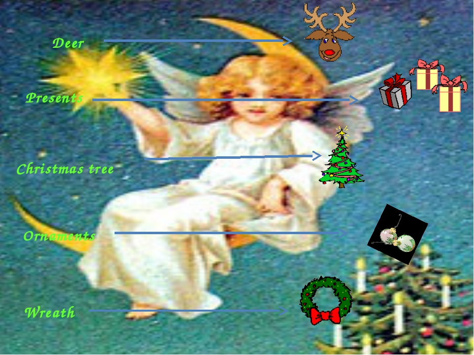 Deer Wreath Presents Christmas tree Ornaments