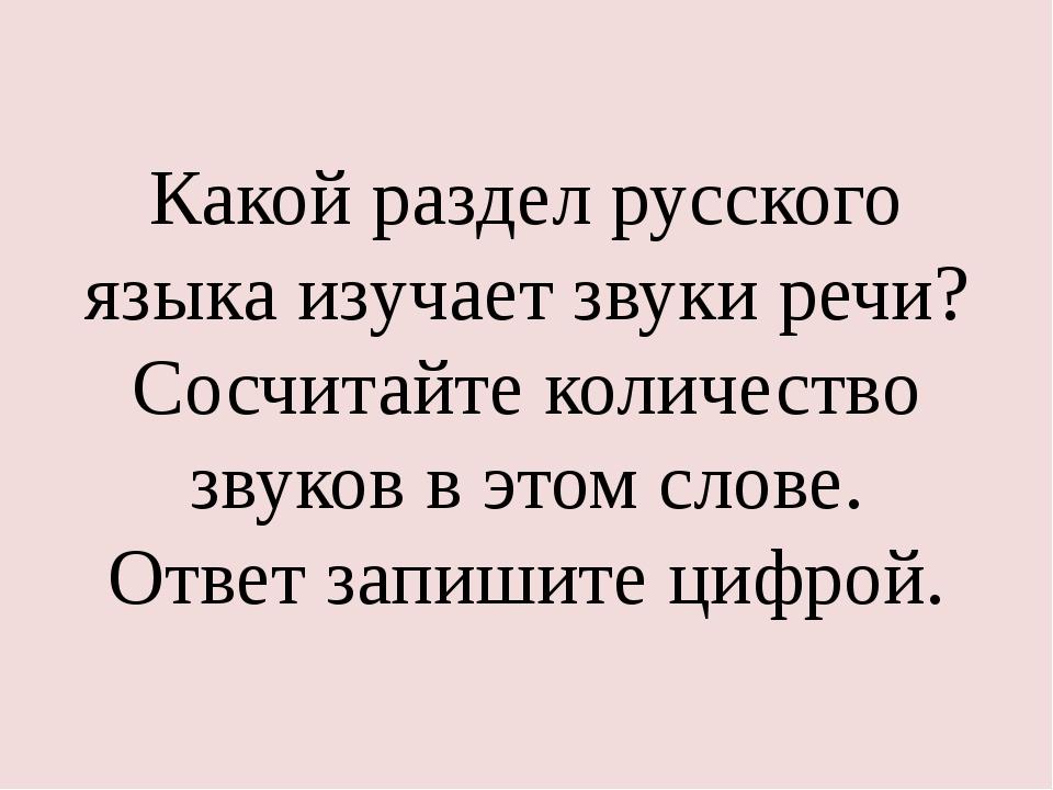Какой раздел русского языка изучает звуки речи? Сосчитайте количество звуков...