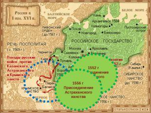 1552 г Присоединение Казанского ханства 1556 г Присоединение Астраханского х