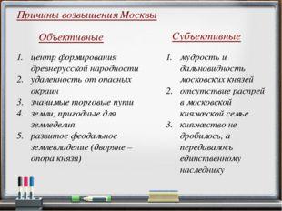 Причины возвышения Москвы центр формирования древнерусской народности удаленн