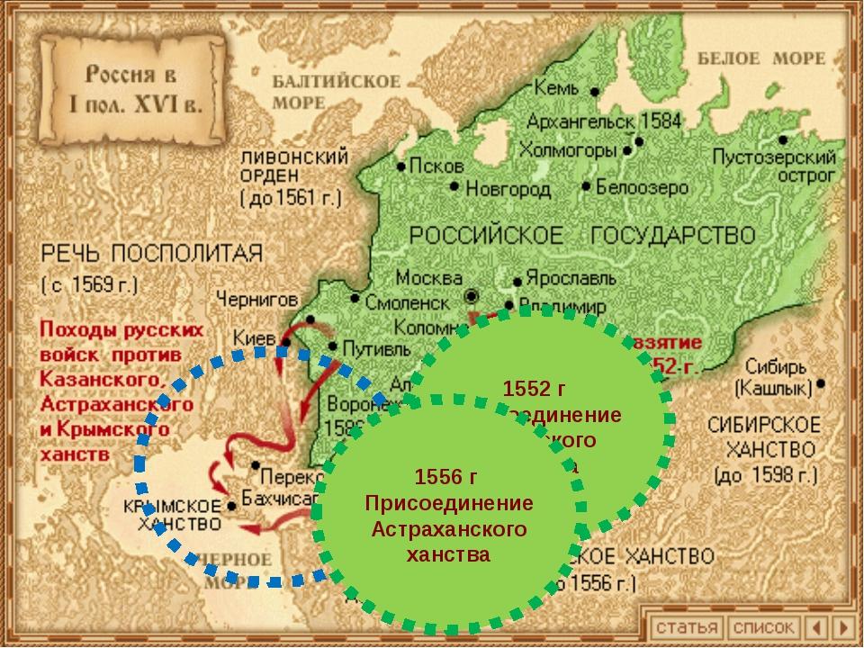 1552 г Присоединение Казанского ханства 1556 г Присоединение Астраханского х...