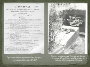 Место захоронения Дикинова Якова Ильича . Село Красовка Бердического района Ж