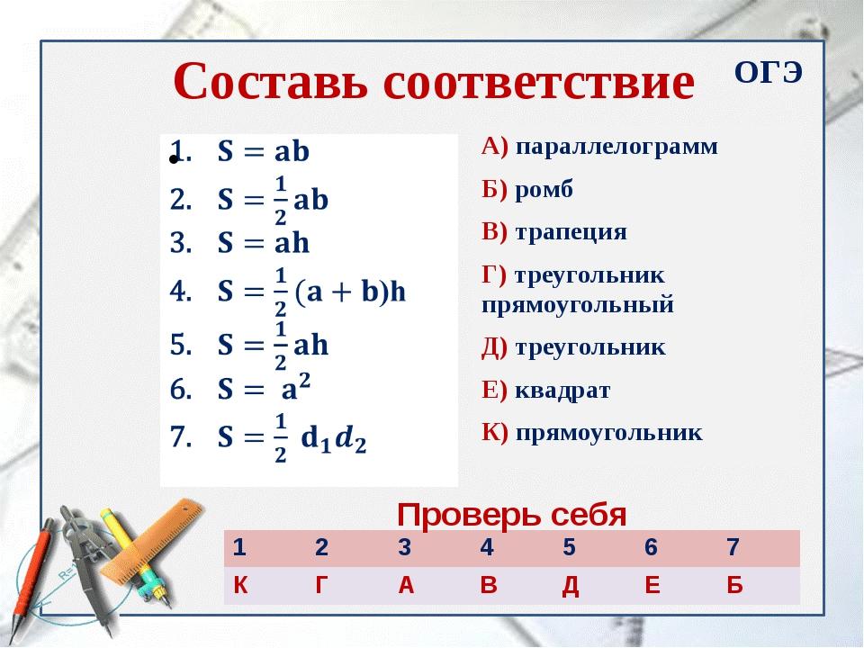 Составь соответствие А) параллелограмм Б) ромб В) трапеция Г) треугольник пря...
