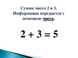 2 + 3 = 5 Сумма чисел 2 и 3. Информация передается с помощью чисел.