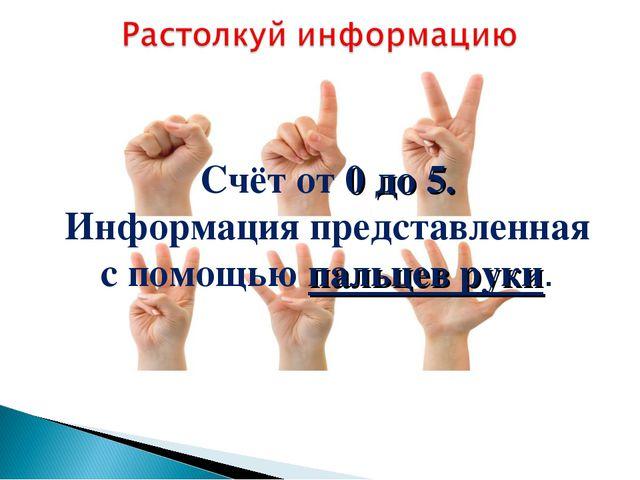 Счёт от 0 до 5. Информация представленная с помощью пальцев руки.