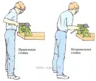 Правильная и неправильная поза при работе на токарном станке