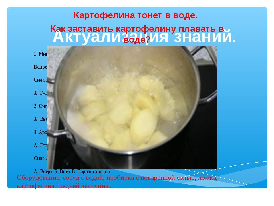 Актуализация знаний. Картофелина тонет в воде. Как заставить картофелину плав...