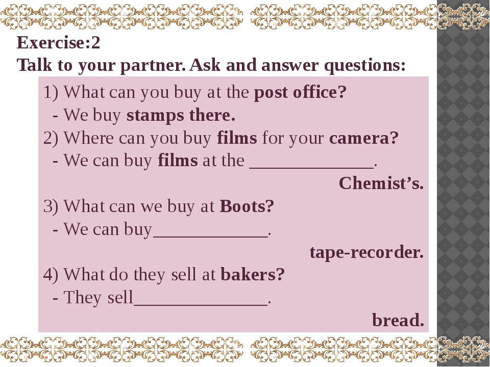 1) What can you buy at the post office? - We buy stamps there. 2) Where can y...