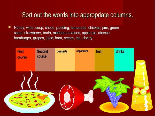 Sort out the words into appropriate columns. Honey, wine, soup, chops, puddin...