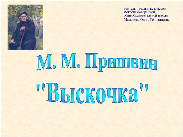учитель начальных классов Искровской средней общеобразовательной школы Мамоно...