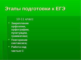 Этапы подготовки к ЕГЭ 10-11 класс Закрепление орфоэпии, орфографии, пунктуац