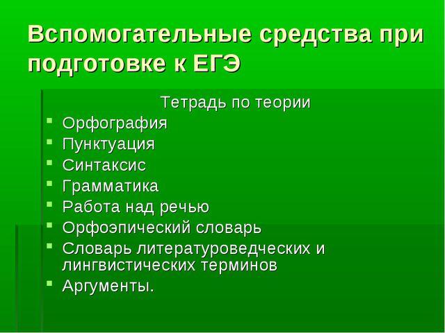 Вспомогательные средства при подготовке к ЕГЭ Тетрадь по теории Орфография Пу...