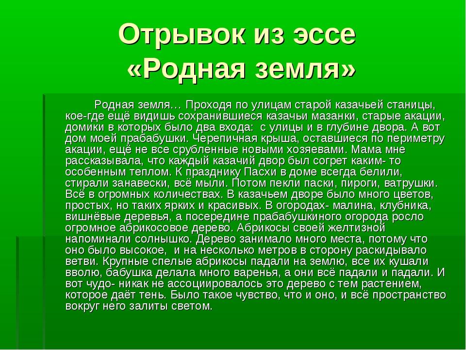 Отрывок из эссе «Родная земля» Родная земля… Проходя по улицам старой казач...