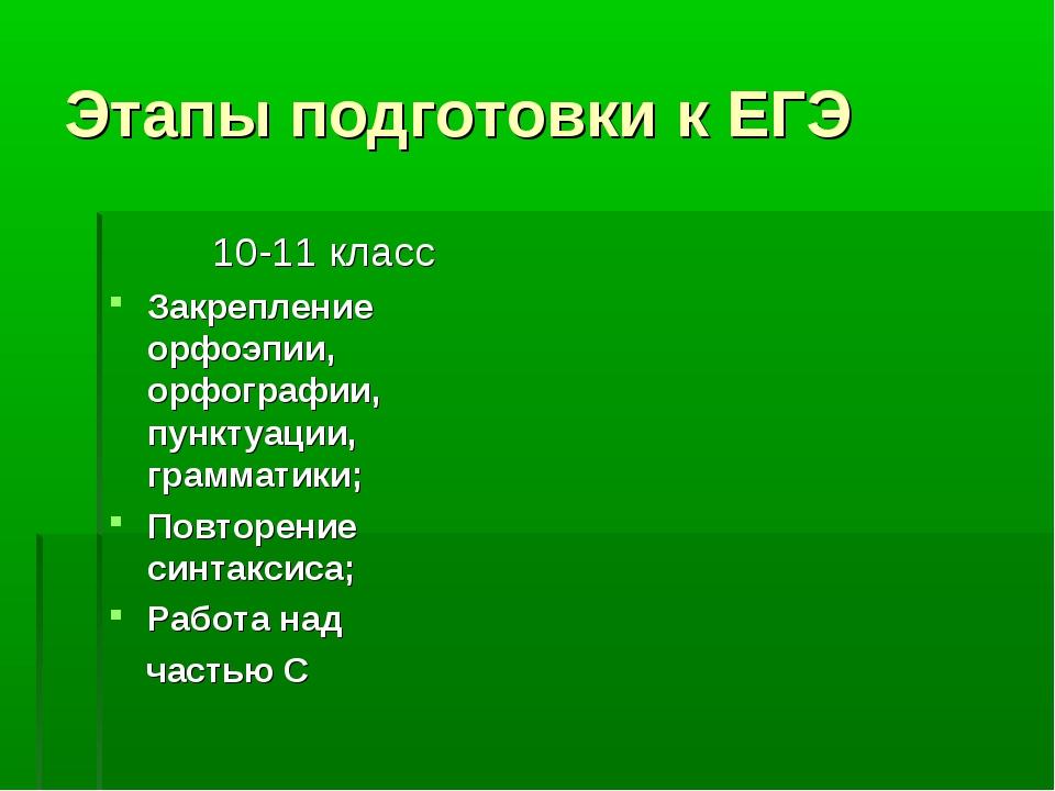 Этапы подготовки к ЕГЭ 10-11 класс Закрепление орфоэпии, орфографии, пунктуац...