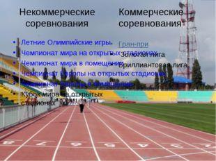 Некоммерческие соревнования Летние Олимпийские игры Чемпионат мира на открыт