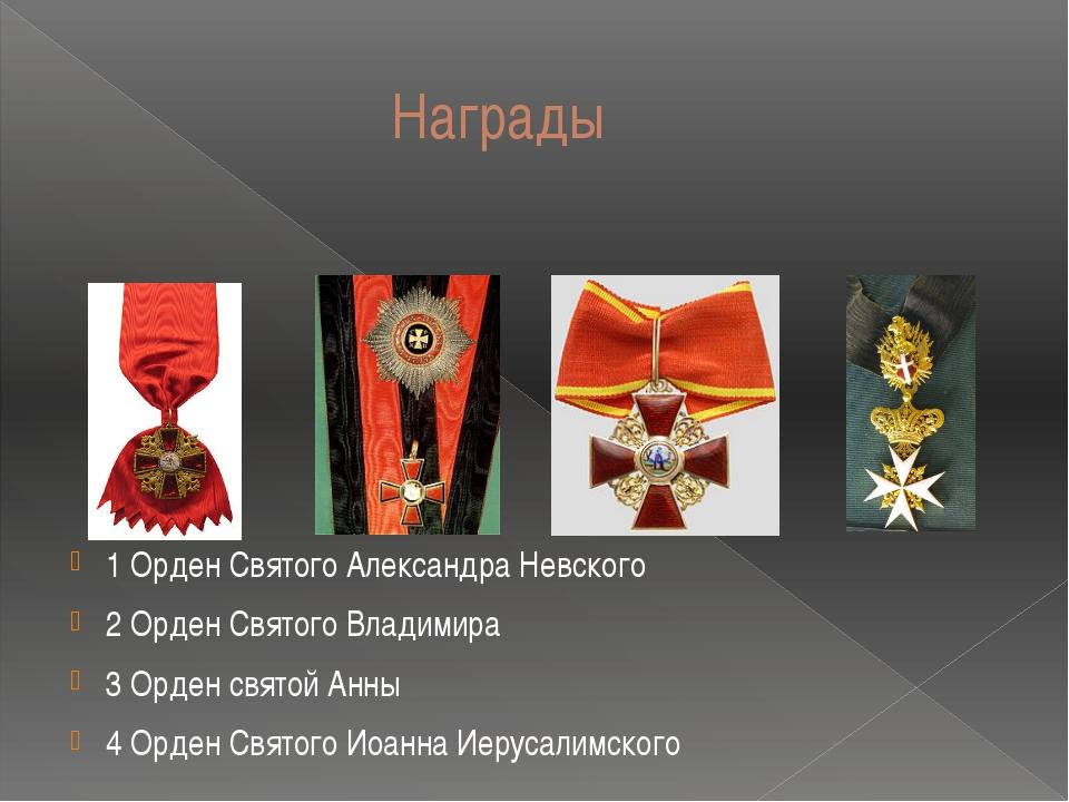 Награды 1 Орден Святого Александра Невского 2 Орден Святого Владимира 3 Орде...