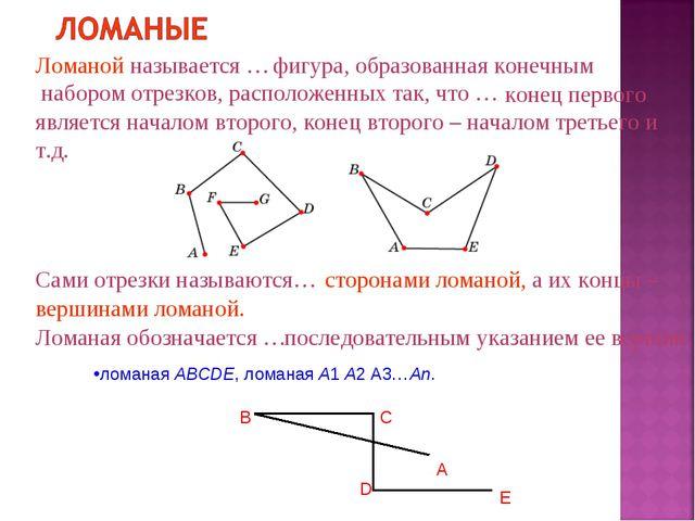 Ломаной называется … фигура, образованная конечным набором отрезков, располо...
