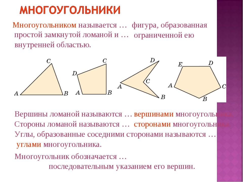 Многоугольником называется … фигура, образованная простой замкнутой ломаной...
