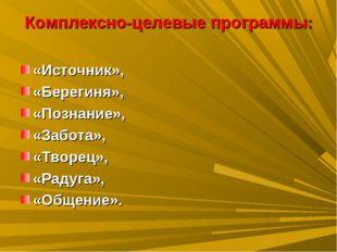 Комплексно-целевые программы: «Источник», «Берегиня», «Познание», «Забота», «