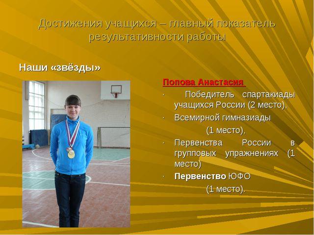 Достижения учащихся – главный показатель результативности работы Попова Анаст...