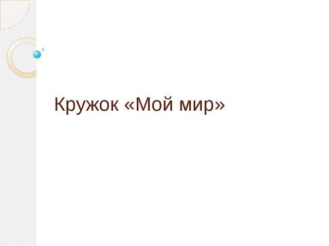 Кружок «Мой мир»
