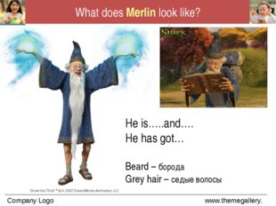 What does Merlin look like? He is…..and…. He has got… Beard – борода Grey hai