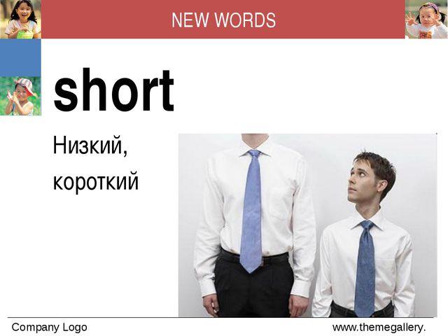 NEW WORDS short Низкий, короткий