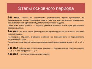 Этапы основного периода 1-й этап. Работа по озвончению фрикативных звуков про